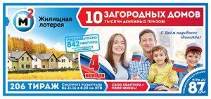 Государственная жилищная лотерея тираж 206
