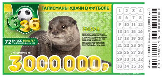 Итоги 72 тиража Футбольной лотереи 6 из 36