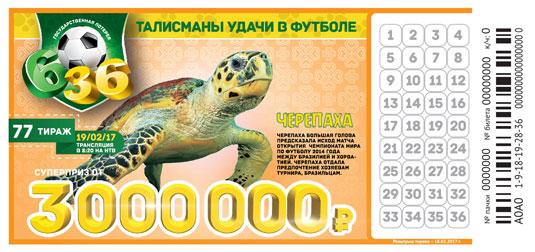 Итоги 77 тиража Футбольной лотереи 6 из 36