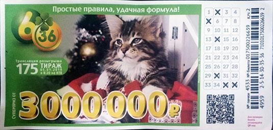 175 тираж лотереи 6 из 36 с рождественским котенком